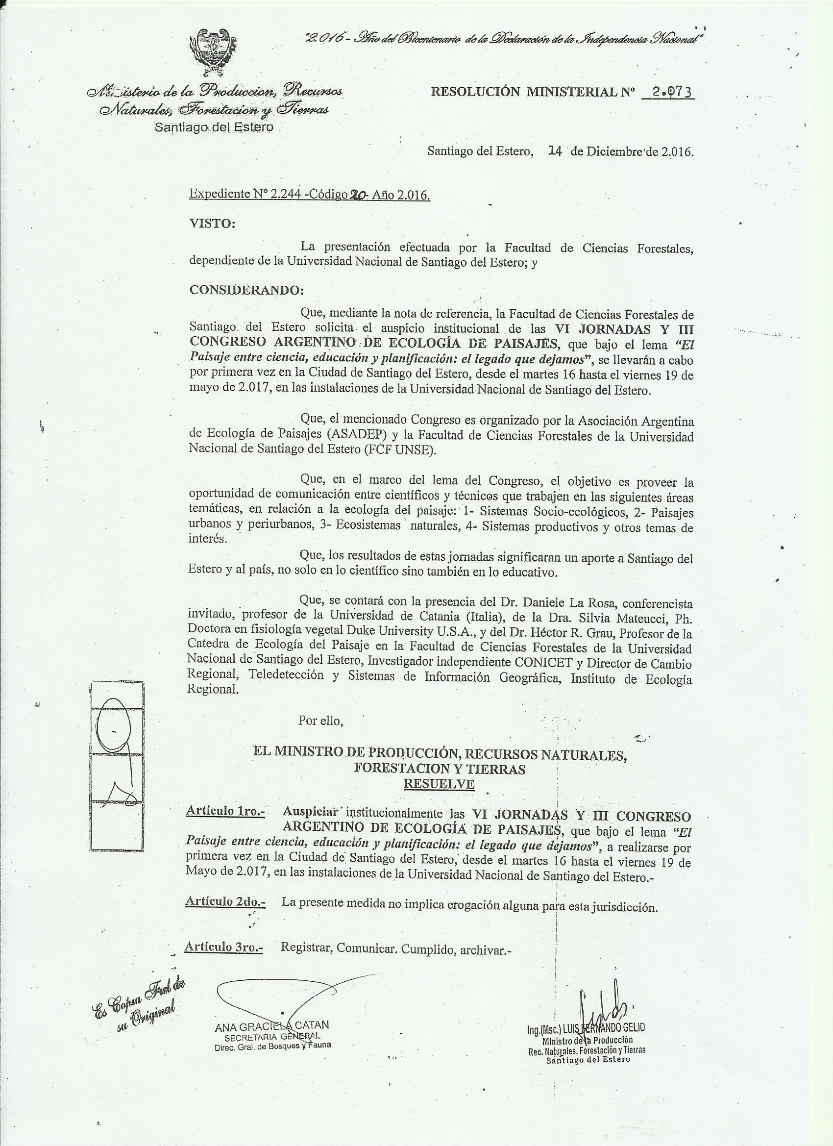 Declaración de interés: Ministerio de la Producción, Recursos Naturales, Forestación y Tierras de Santiago del Estero