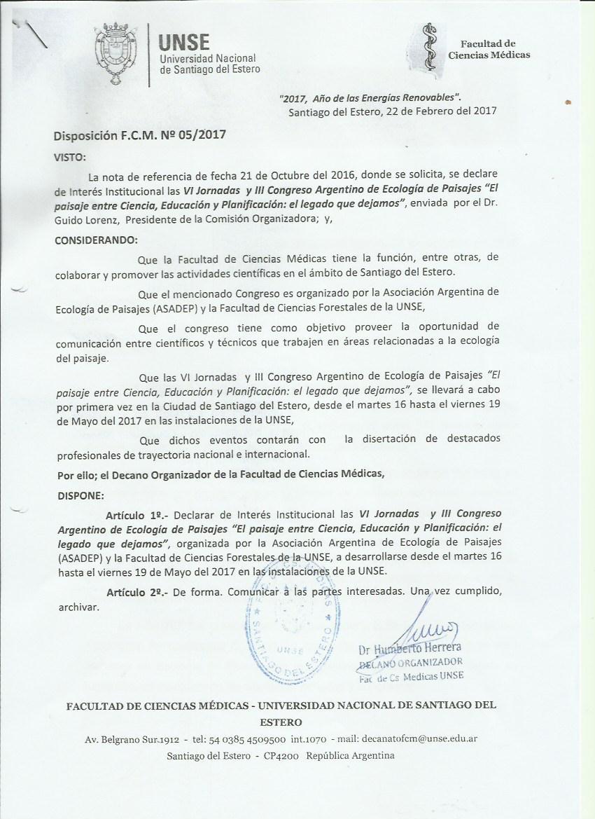 Declaración de interés Académico FCM UNSE