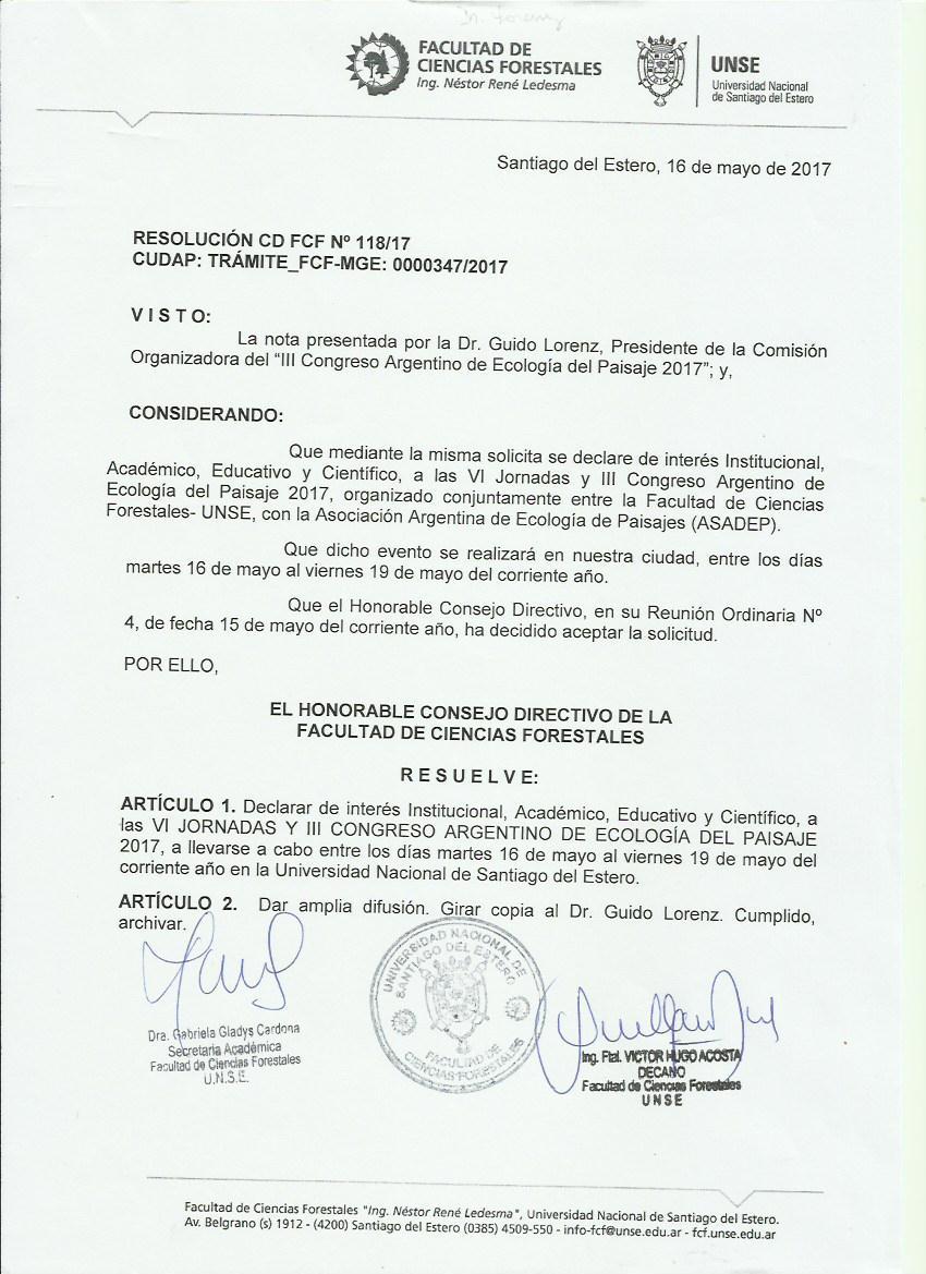 Facultad de Ciencias Forestales (Consejo Directivo) - UNSE