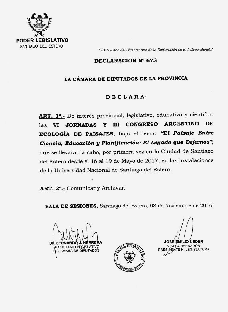 Declaración de Interés: Poder Legislativo de Santiago del Estero